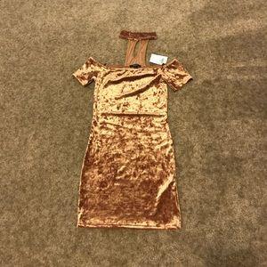 Gold Off The Shoulder Dress